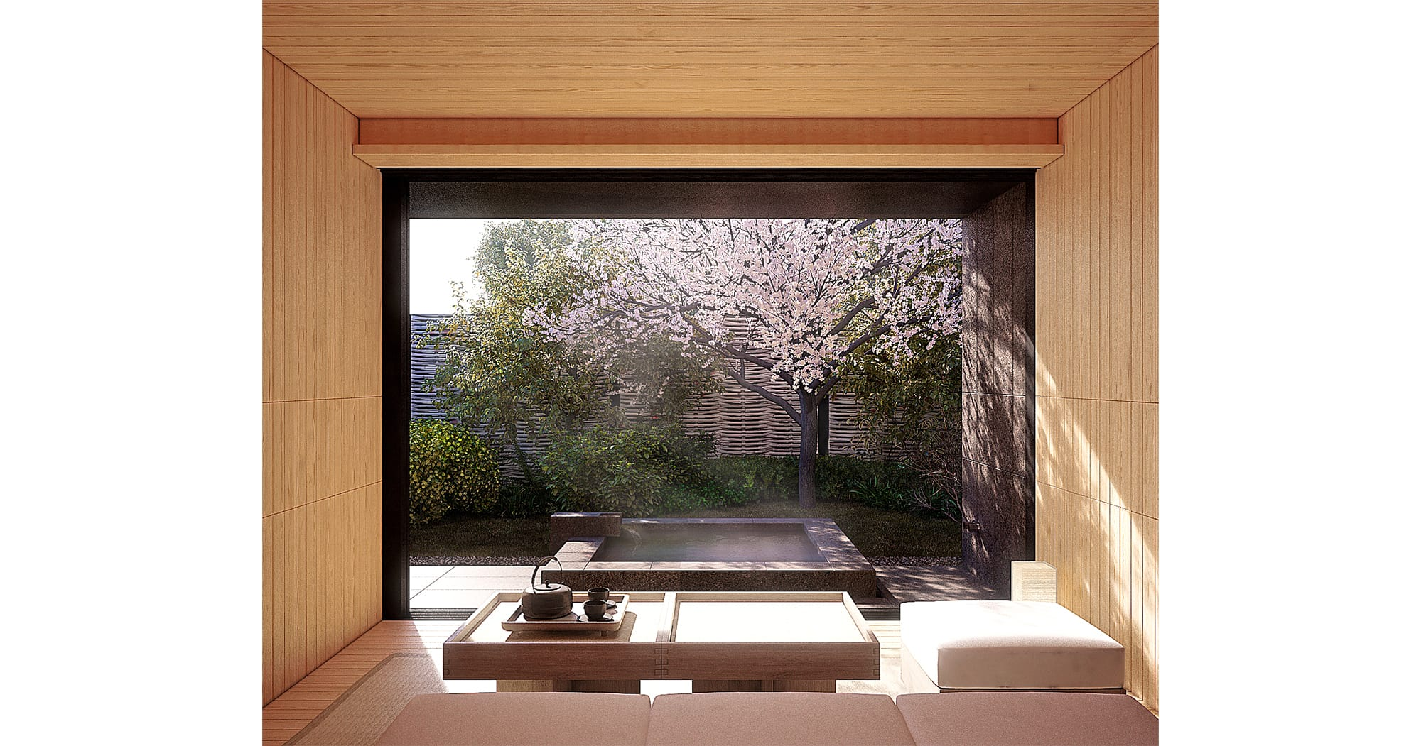 The separate stylish pavilion, Onsen Hanare features an open-air and indoor bath specially for the guests staying at the Tsuki Villa.