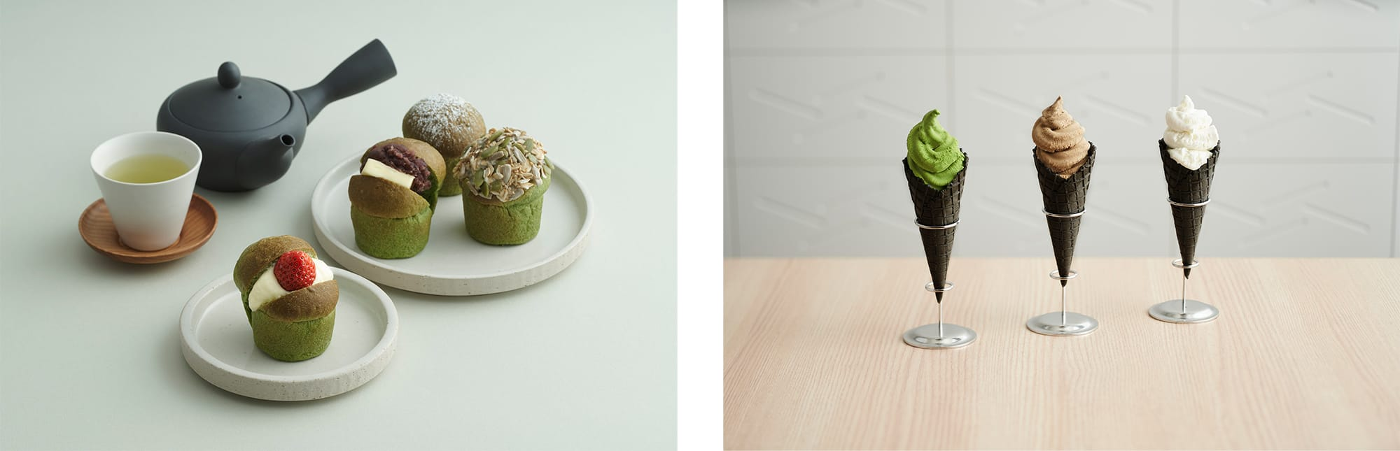 左:静岡産抹茶の鮮やかな緑色が美しい「抹茶パン」(300円〜)右:宇治抹茶を3.5%も使用した「濃茶ジェラート」(450円)など、ジェラートも人気。