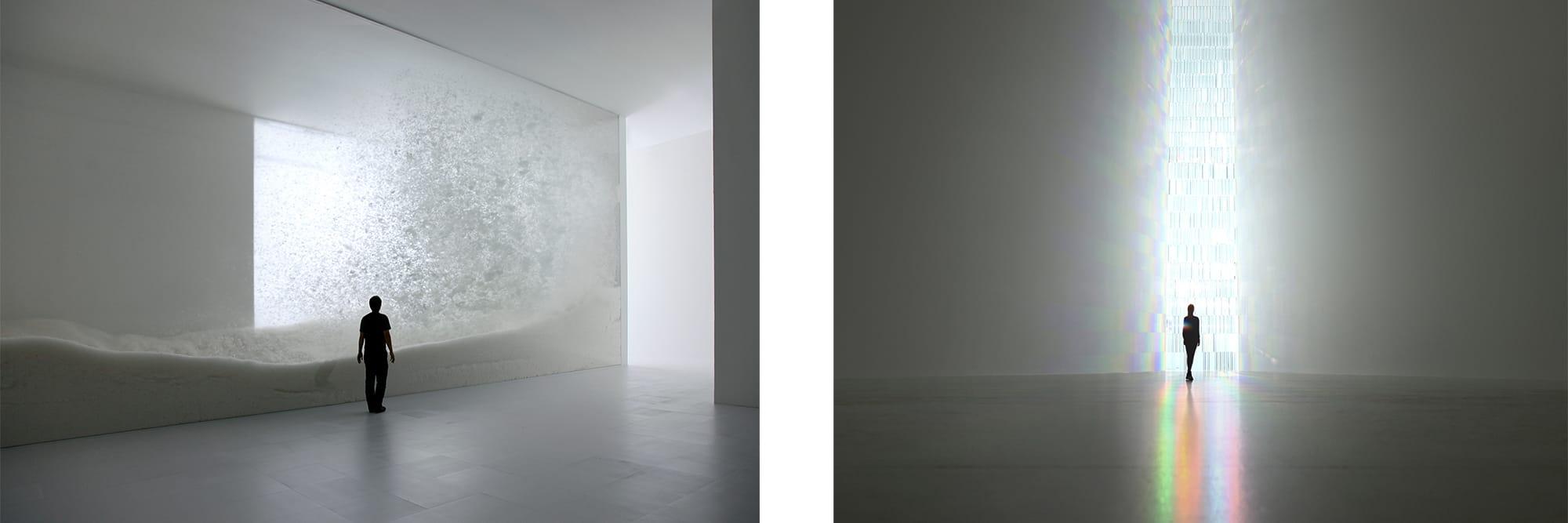 左:「snow」(2010) 宙を浮遊したのち、静かにランダムに舞い降りてくる雪を羽毛で表現した横約15mのダイナミックなインスタレーション。 右:「虹の教会」(2010・2013) 500個ものクリスタルプリズムを、微妙な角度をつけながら積み重ねた高さ12メートルものステンドグラス。自然の光を虹色に変化させる。