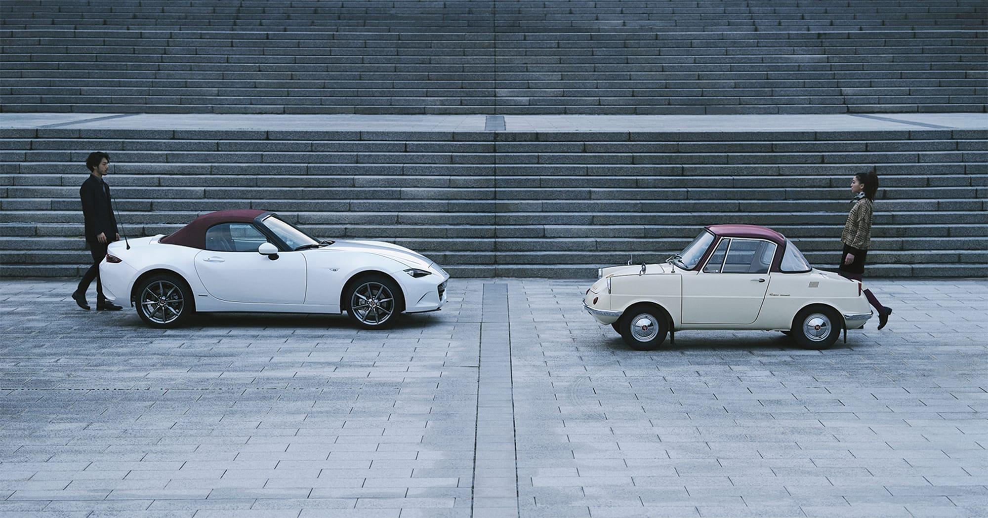 マツダ初の乗用車「R360クーペ」は、マツダのクルマづくりの原点。現代のツーシータークーペ、ロードスターにも志が受け継がれている。