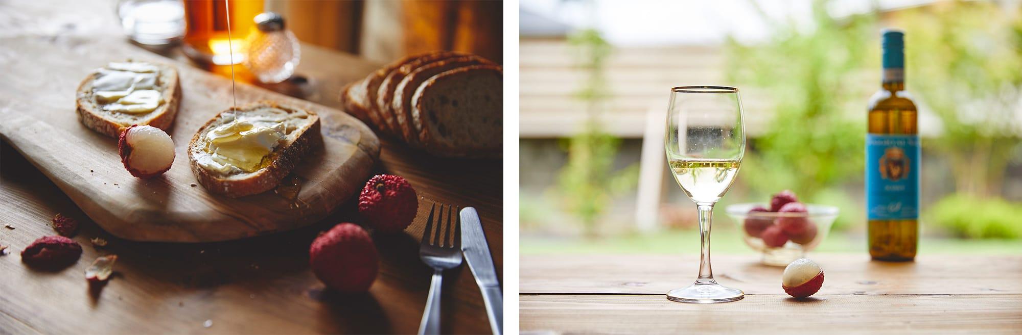 左:フレッシュなライチは、スイーツにも負けない甘みやプルンとした食感。右:食後のデザートとして味わうだけではなく、ワインのお供としても魅力的。