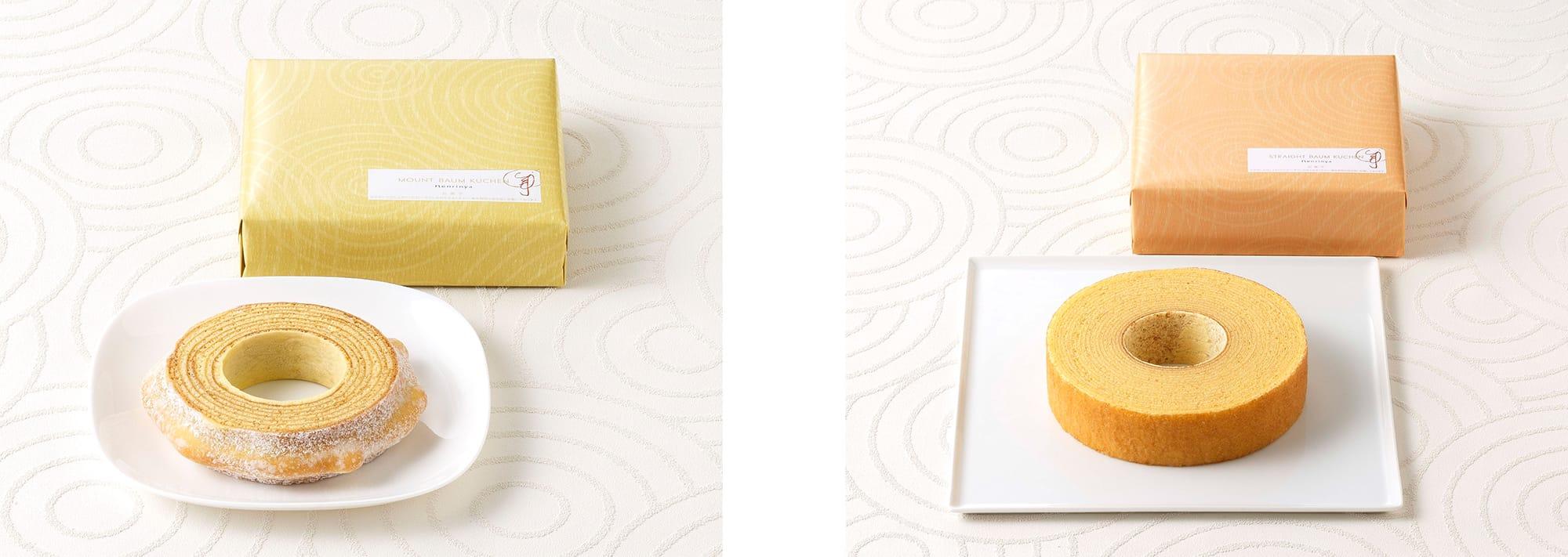 左:「マウントバーム しっかり芽 1山」(税込1,620円)右:「ストレートバウム やわらか芽」(税込1,080円)どちらも化粧箱入りで熨斗をかけることも可能なので、ギフトに最適。