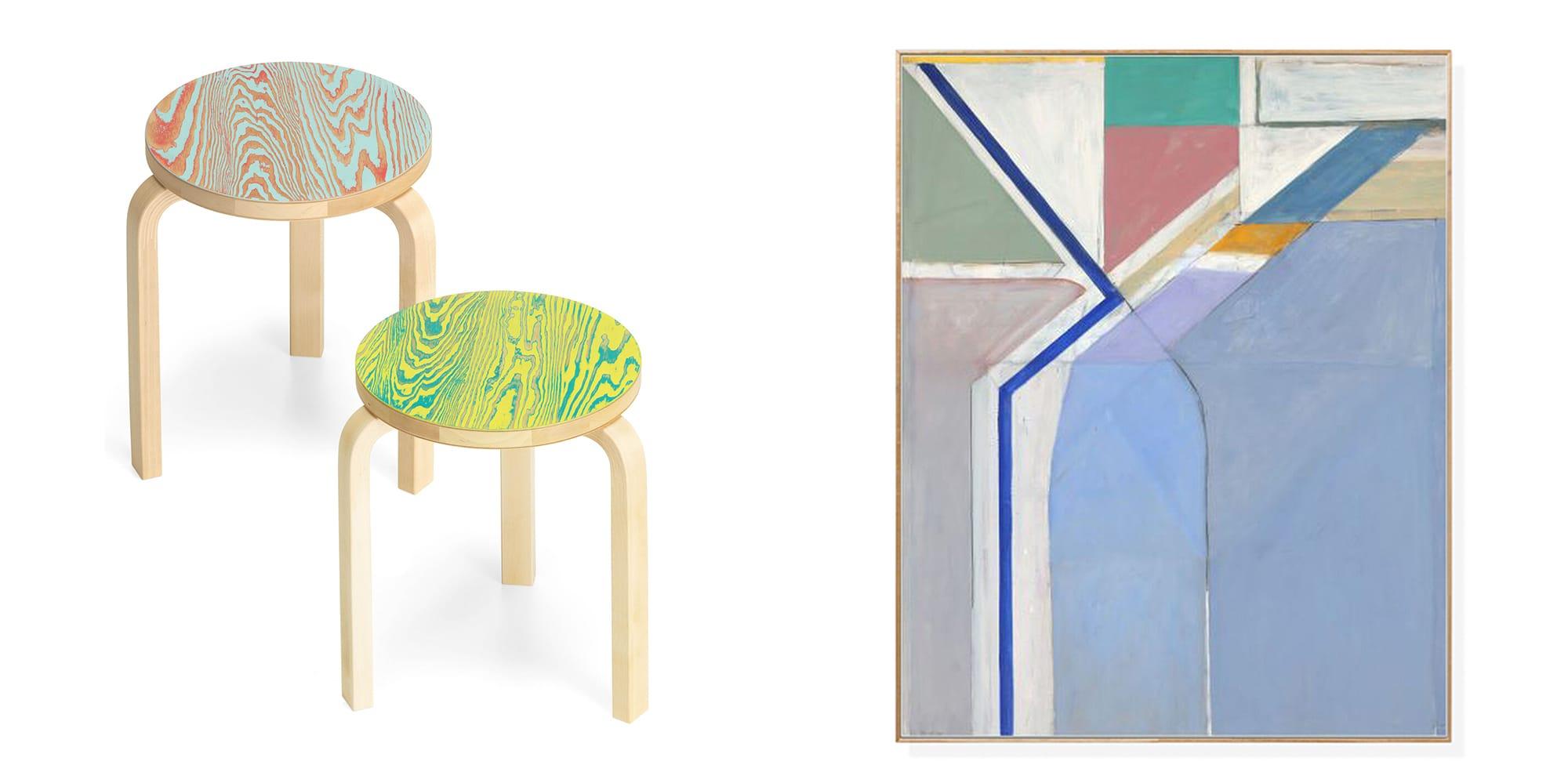 左:アルヴァ・アアルトのデザインが建築家・長坂常の手法で斬新に生まれ変わった「artek スツール カラリン」各48,000円(税別)。レッド/ターコイズとグリーン/イエローの2色あり。 右:MoMAコレクションに収蔵されている作品の複製画「ディーベンコーン:Ocean Park No.24 フレーム付ポスター」32,000円(税別)。