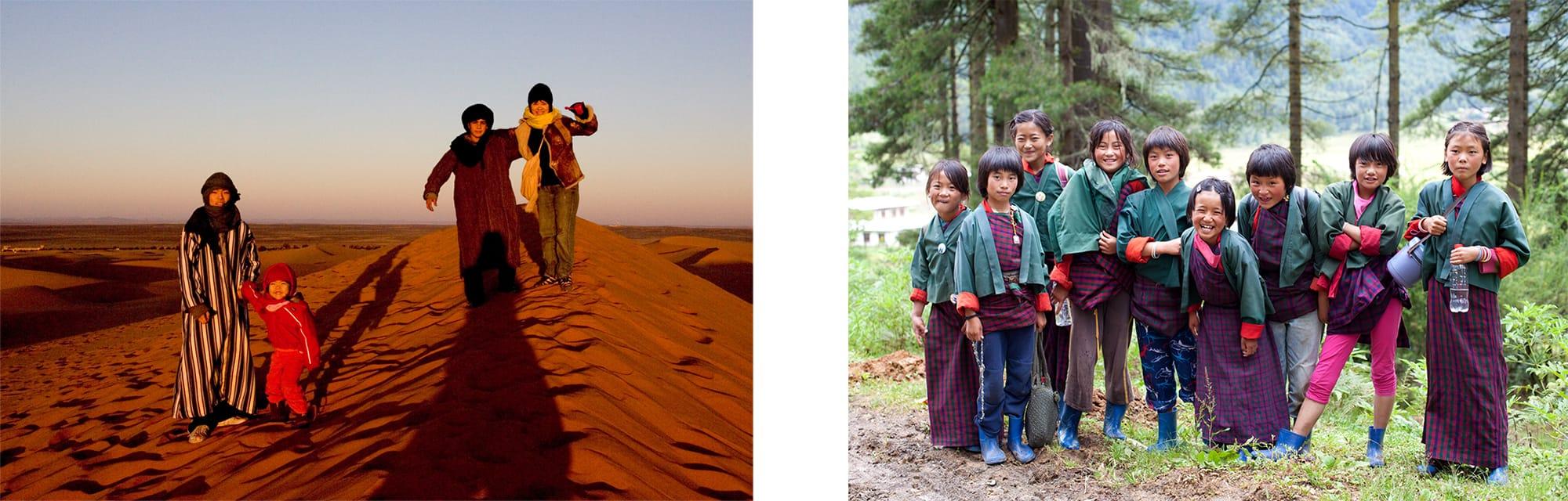秘境への旅もライフワークのひとつだった。キューバやブーダン、アフリカのマリのフリースクールなどを訪ね、異文化に触れ多くを学んできた。左はモロッコのサハラ砂漠を家族で旅した時。下はブーダンの子供たち。はつらつとした笑顔が美しい。
