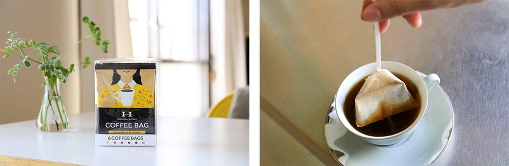 「FLOWERY&ELEGANT」や「FRUITY&AROMATIC」など、堀口珈琲の6種類の味が簡単に楽しめる「コーヒーバッグ アソートセット 6袋入」(993円 税込)。