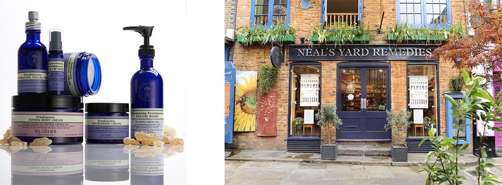 左:NYRは1981年、英国初のナチュラルアポセカリー(自然療法薬局)としてロンドン中心部コヴェントガーデンにオープンした。美容と健康をトータルにサポートするオーガニックスキンケアが揃う。右:ロンドン、コヴェントガーデンのショップ。