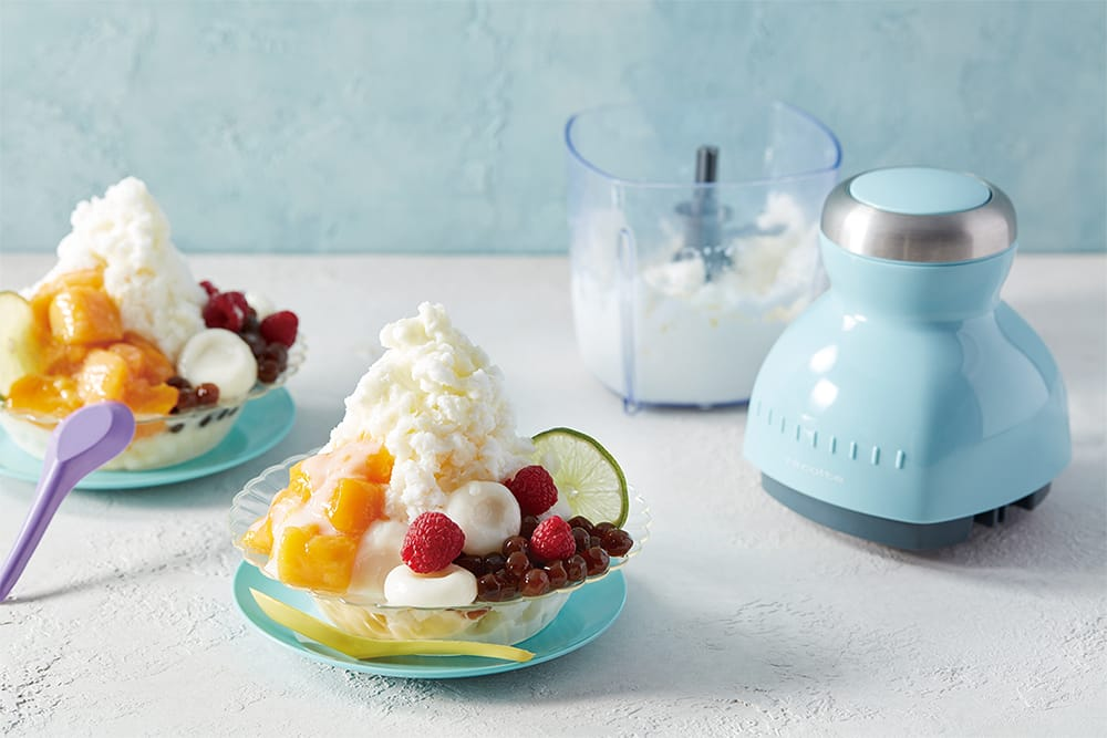 「カプセルカッター ボンヌ」は、コンパクトな本体ながら固い氷まで砕くことができるので、夏にはカキ氷やジェラートも楽しめる。