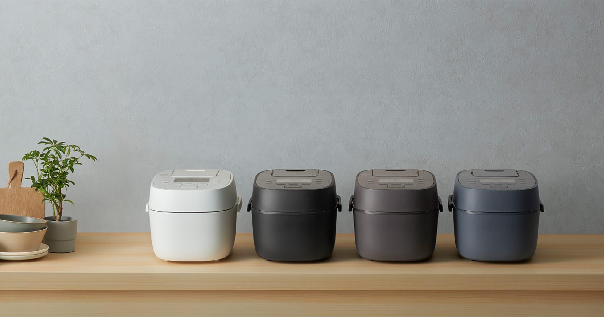 グレイッシュトーンのカラーリングとマットな質感、インテリアとしてのデザインも重視した可変圧力IHジャー炊飯器「SR-MP0」シリーズ。