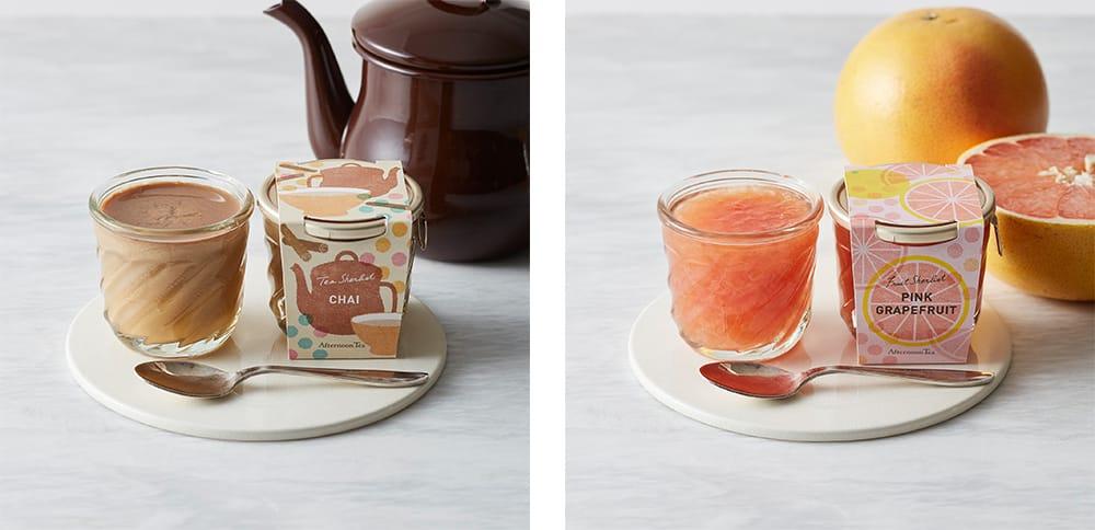 左:「ティーシャーベット チャイ」450円(税込)  右:「ティーシャーベット オレンジ&アールグレイ」450円(税込)