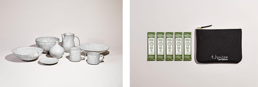 左:陶芸家、高田志保とT-HOUSE New Balanceのコラボレーションによるストアオリジナルアイテム。高台の裏側には、M1300JPJのソールパターン。 右:静岡県藤枝に100年続く茶農家で、東京・蔵前に店を構える日本茶ブランド「NAKAMURA」とT-HOUSE New Balanceのコラボレーションによるストアオリジナルアイテム。5本セット 2,000円(税別)ペットボトルのリサイクル素材REPREVE®︎を使用したオリジナルポーチ付き。