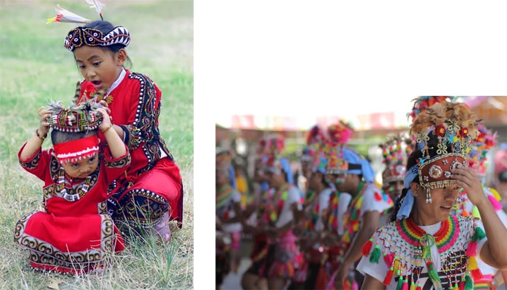 美しい色彩の民族衣装。