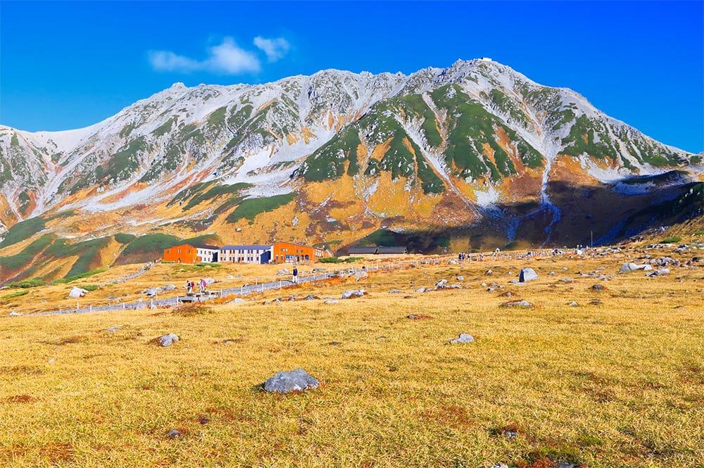 室堂平から見上げる立山連峰。写真中央付近の建物、立山室堂山荘の左端上方、突起状のピークが富士ノ折立(ふじのおりたて/標高2,999m)。建物右端上方のピークが大汝山(おおなんじやま/標高3,015m)。さらにその右(南)に連なる稜線の右端手前の空に突き出た頂が雄山(おやま/標高3,003m)。この三山の総称が、立山(日本百名山)。