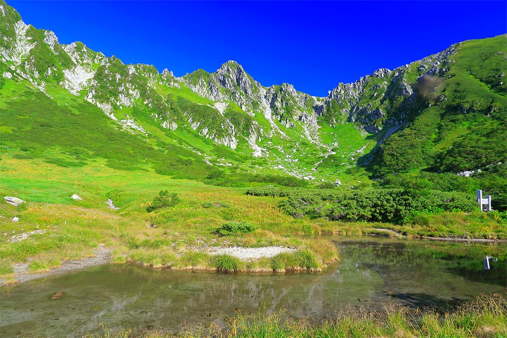 日本を代表するカール地形、千畳敷カール。新緑の季節は、無機質な岩峰を覆う鮮やかな緑と青い空が千畳敷ならではの絶景を織りなす。