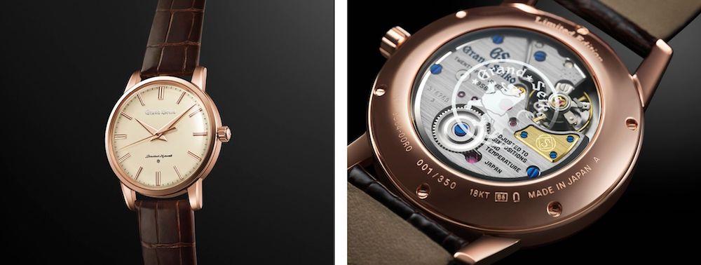 初代グランドセイコーのデザインを18Kピンクゴールドで復刻した「セイコー創業140周年記念限定モデル SBGW260」。