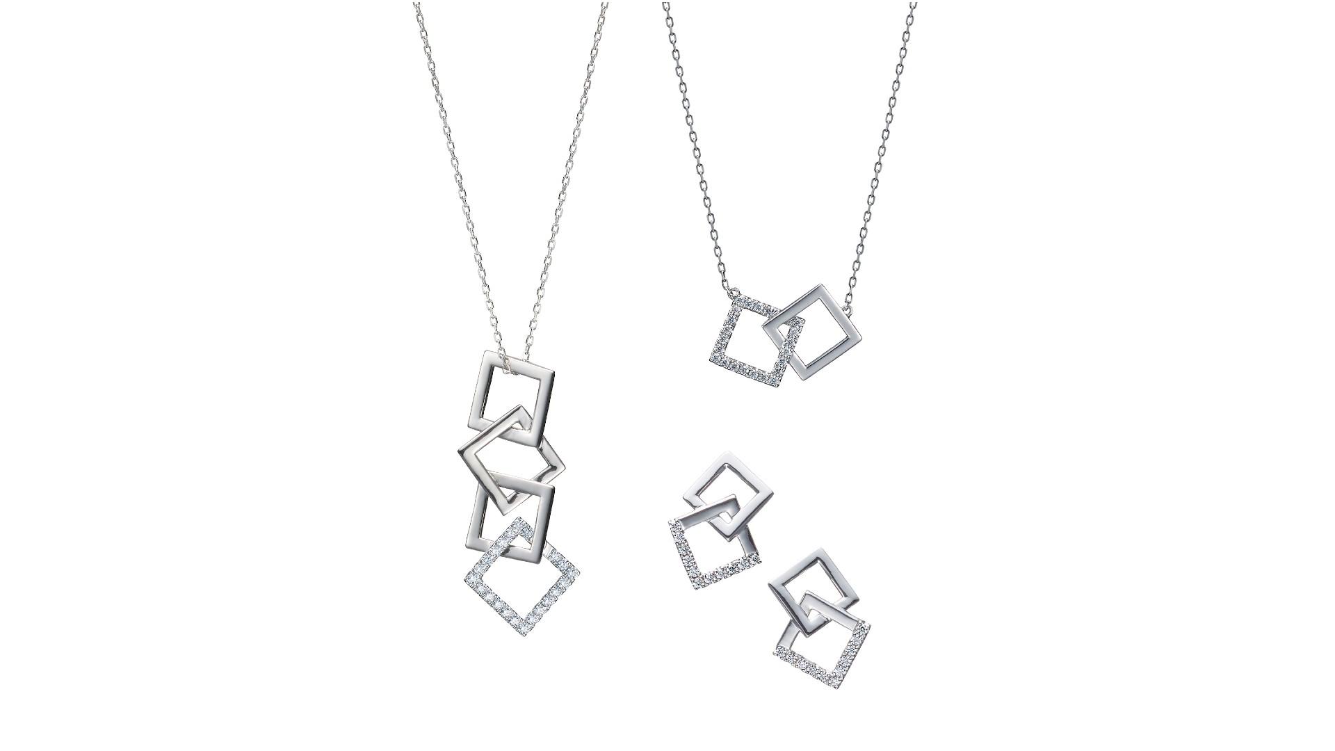 左から、ネックレス352,000円(40cm)、ネックレス264,000円(40cm)、ピアス/イヤリング363,000円(いずれもPt、ダイヤモンド)
