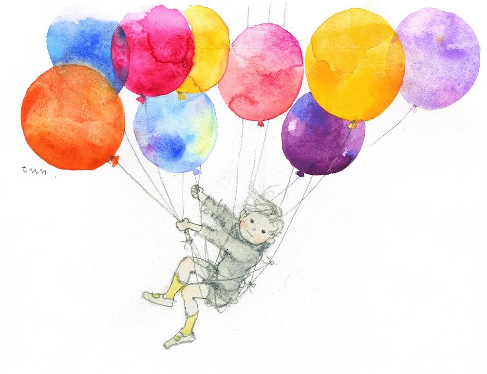 いわさきちひろ「風船と舞い上がる少年」