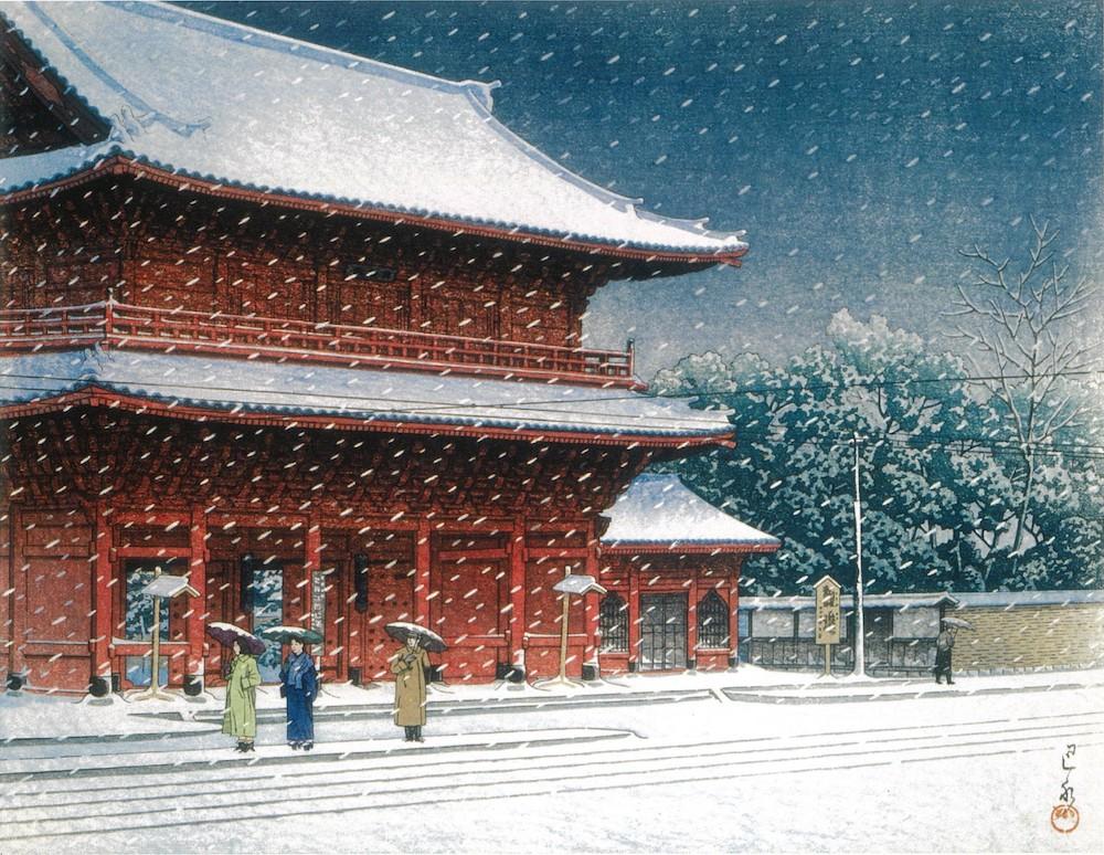 川瀬巴水《増上寺之雪》
